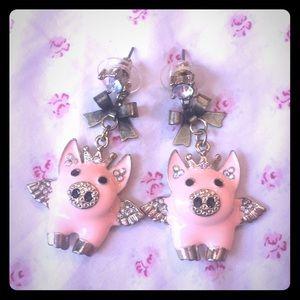 Betsey Johnson pink flying pig earrings